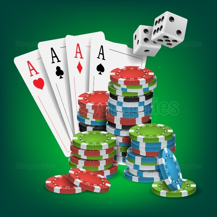 Casino Poker Design Vector  Poker Cards, Chips, Playing Gambling Cards  Lucky Night VIP Winner Concept  Illustration
