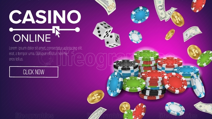 Casino Poster Vector  Online Poker Gambling Casino Poster Sign  Jackpot Billboard, Promo Concept Illustration