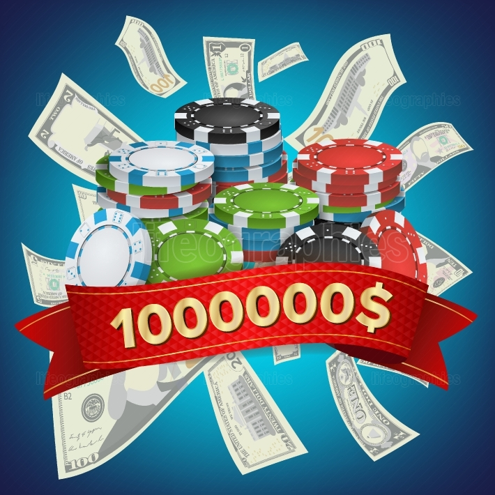 Casino Winner Background Vector  Poker Chips  Cash Winning Prize Money Concept Illustration