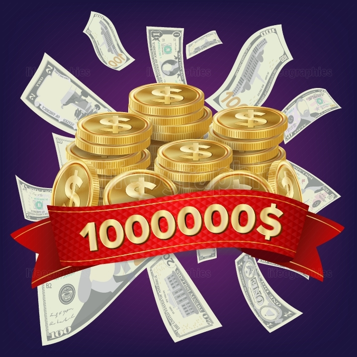 Casino Winner Vector Background  Coins And Dollars Money  Jackpot Prize Design  Winner Concept Illustration