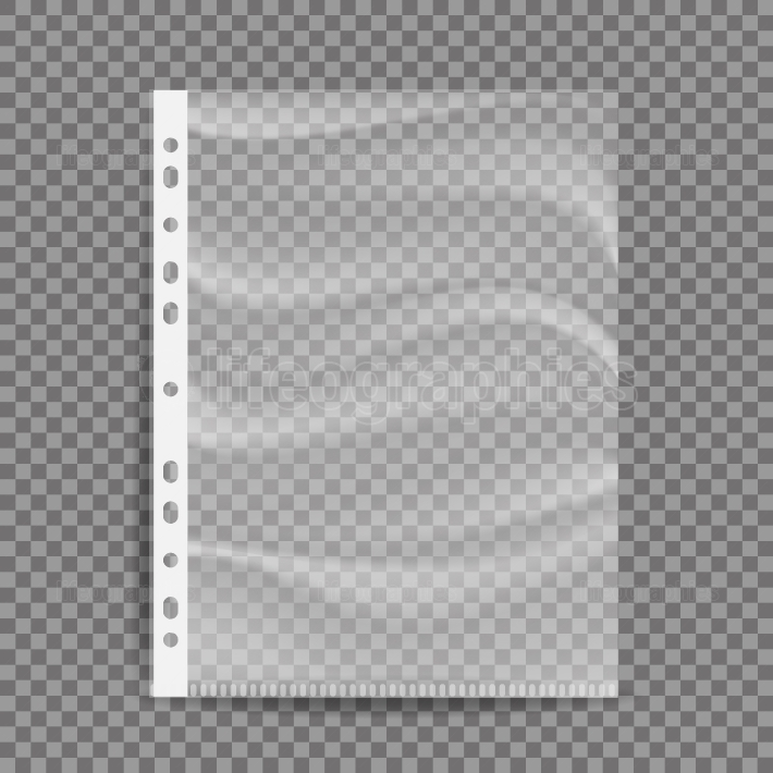 Cellophane Business File Vector  A4 Size  Empty Plastic Bag  Document Protector  Transparent Plastic Sleeve  Isolated On Transparent Background Illustration