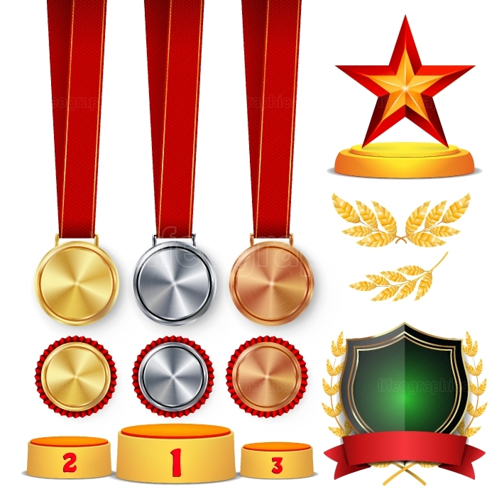 Ceremony Winner Honor Prize  Trophy Awards Cups, Golden Laurel Wreath With Red Ribbon And Gold Shield, Medals Template, Sports Placement Podium  1st, 2nd, 3rd Place  Isolated  Vector Illustration