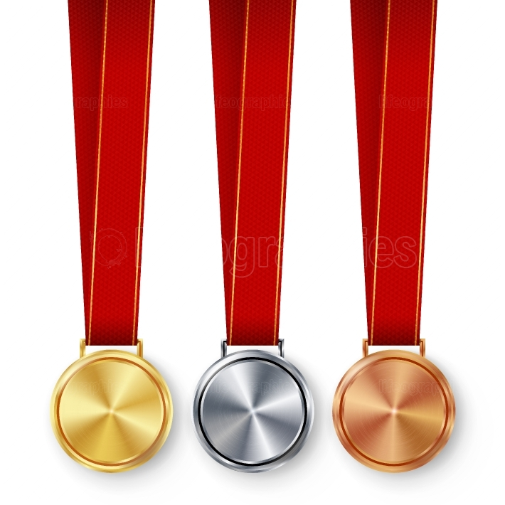 Champion Medals Blank Set Vector  Metal Realistic First, Second Third Placement Prize  Classic Empty Medals Concept  Red Ribbon, Laurel Wreath  Sport Game Golden, Silver, Bronze Achievement Template