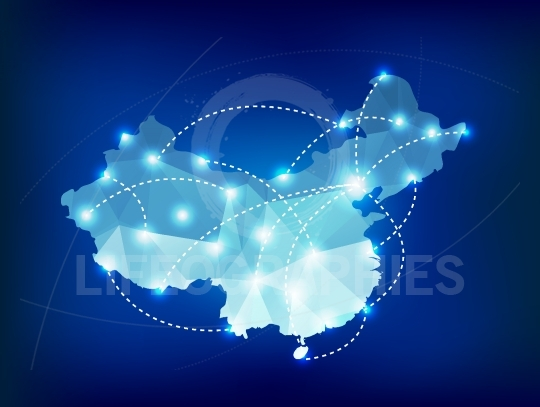 China country map polygonal with spot lights places