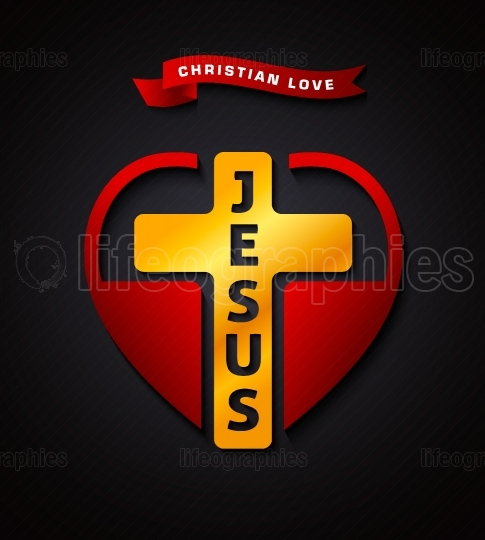 Christian love Jesus, vector creative design symbol