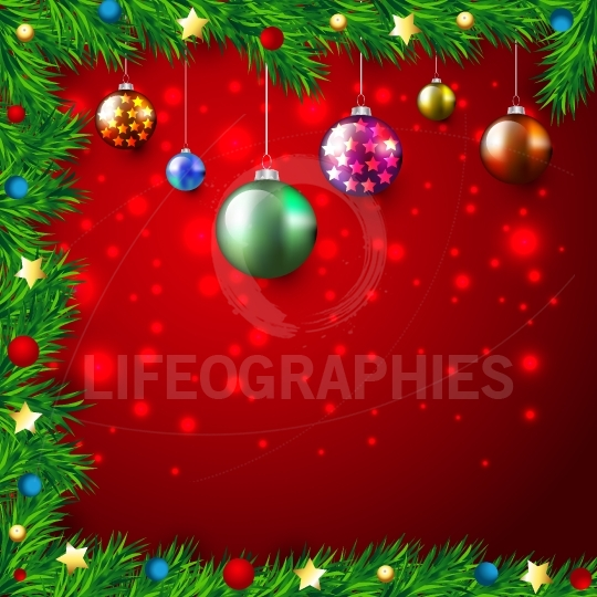 Christmas Colorful Background with lights and baubles, stars,fir branches