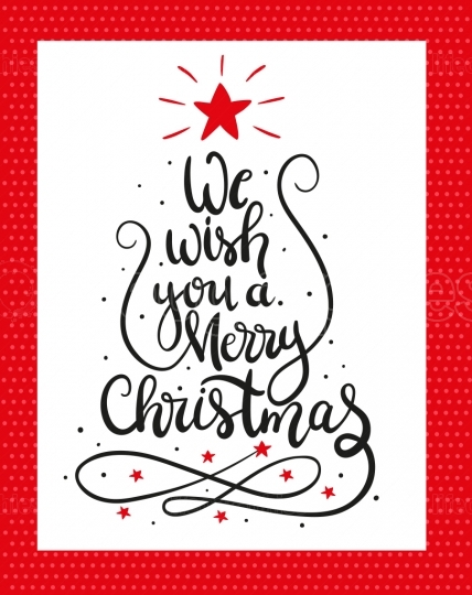 Christmas Greeting Card. we wish you a Merry Christmas lettering