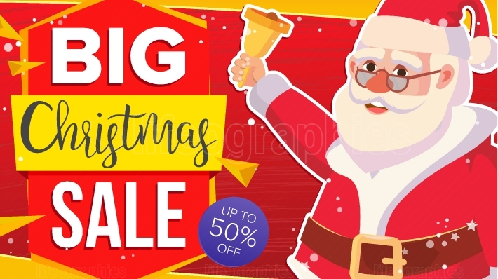 Christmas Sale Banner With Classic Xmas Santa Claus Vector  Discount Special Offer Sale Banner  Marketing Advertising Design Illustration  Design For Xmas Party Poster, Brochure