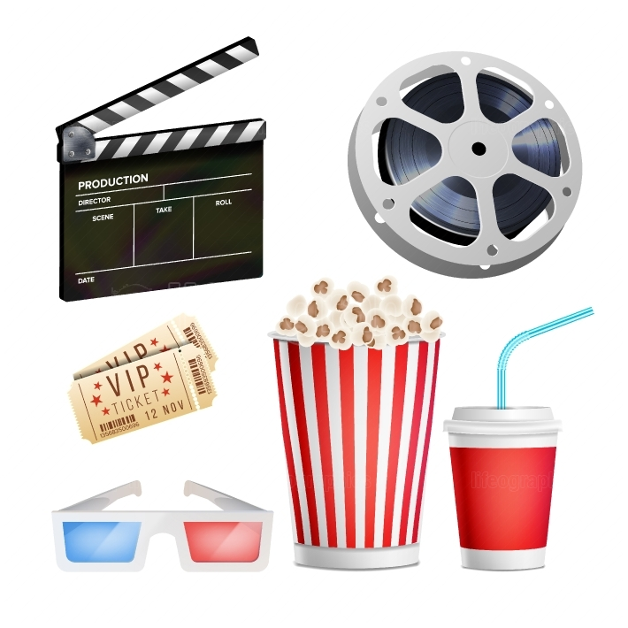 Cinema Movie Icons Set  Realistic Items Film Festival Directors Attributes TV  Cinematography Movie Festival Concept  Isolated Illustration