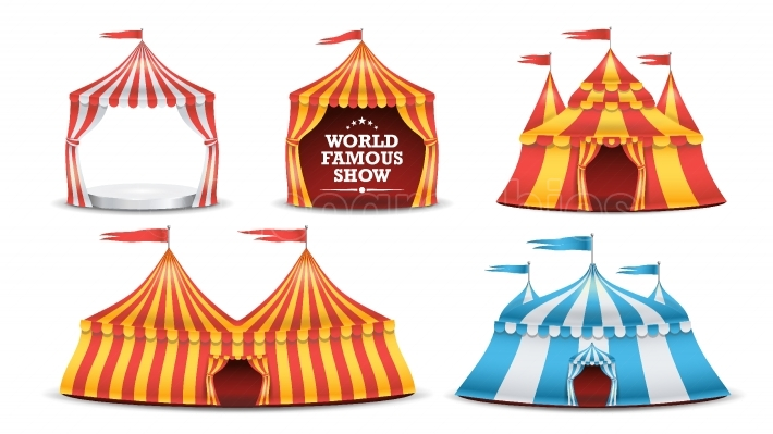 Circus Tent Set Vector  Multicolored Funfair, Carnival Holidays Concept  Illustration