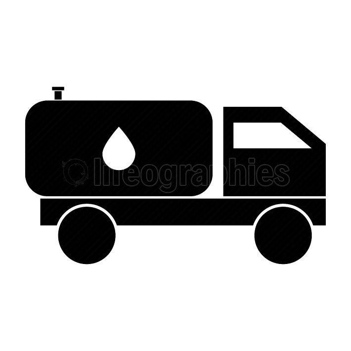 Cistern truck black color icon