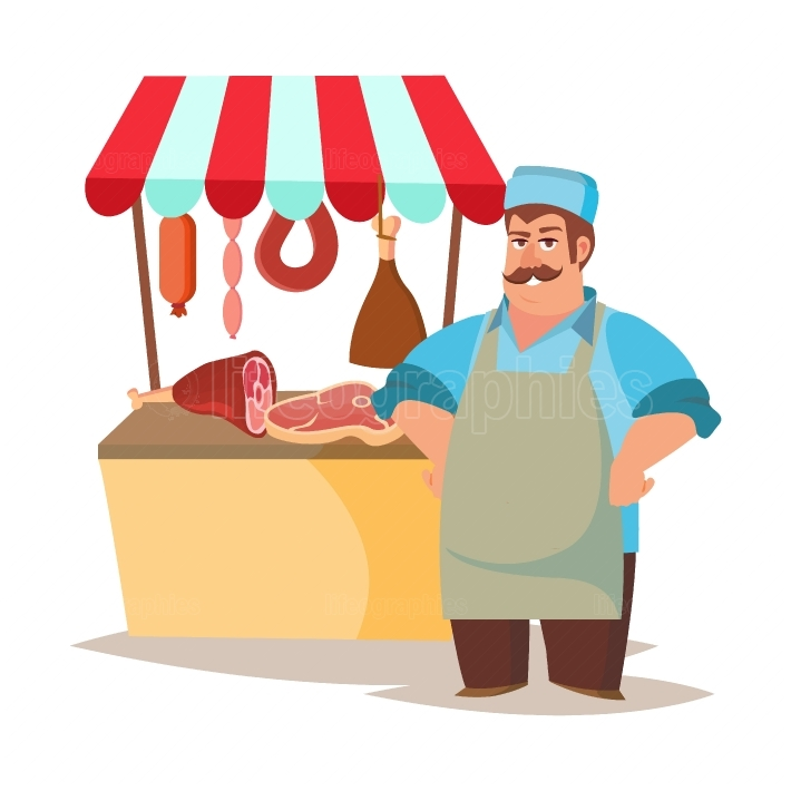Classic Butcher Vector  Professional Butcher Man With Meat Cleaver  For Meat Market Advertising Concept  Eco Farm Organic Market Meat  Cartoon Isolated Illustration