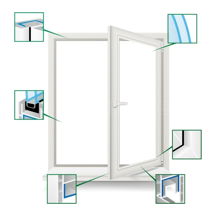 Classic Plastic Window Vector  Plastic White Window Frame Profile  Opened Realistic Window  Isolated Illustration