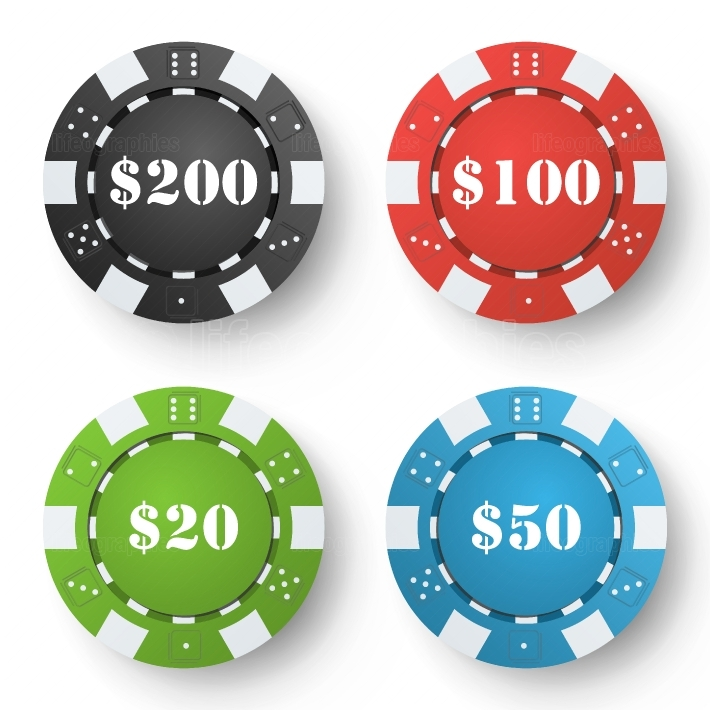 Classic Poker Chips Vector  Colored Poker Game Chips Isolated On White Background  Illustration