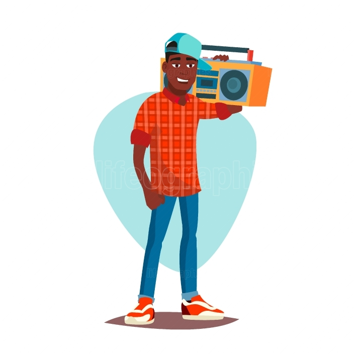 Classic Rapper Man Vector  Modern Musician  Flat Cartoon Illustration