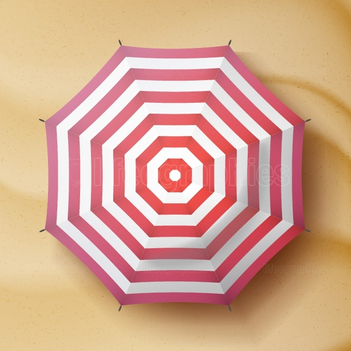 Classic Round Rain Umbrella Vector  Travel Illustration