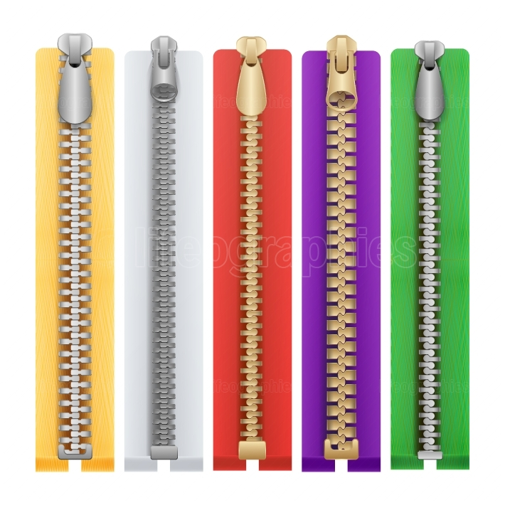 Clothes Zipper Isolated Vector  Metal Zippers Template Illustration