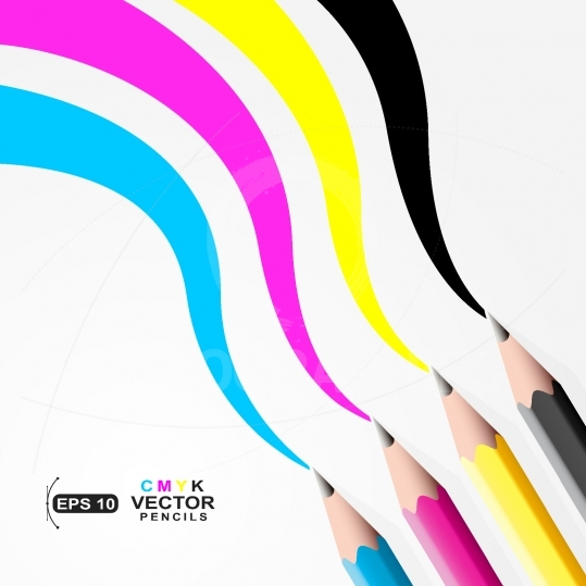CMYK pencils.Trace left by CMYK pencils