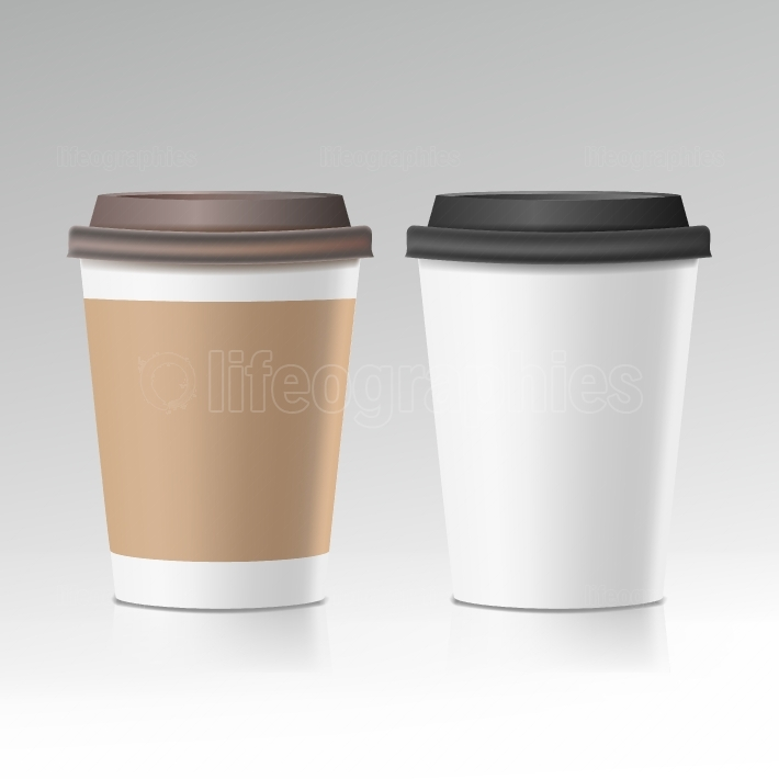 Coffee Cup Vector  Take Away Cafe Coffee Cup Mockup  Isolated Illustration