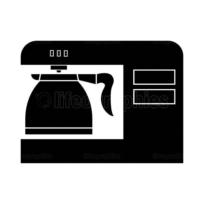Coffeemaker, coffee machine black color icon