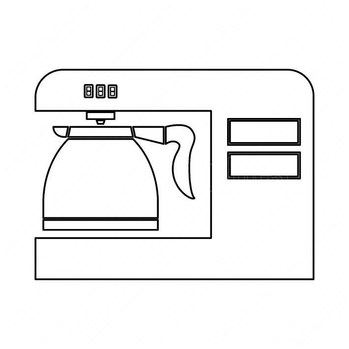Coffeemaker, coffee machine black color path icon
