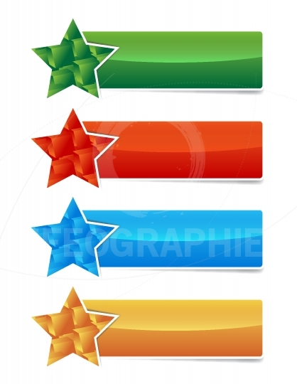 Colored banner set with star and 3d cubes shape
