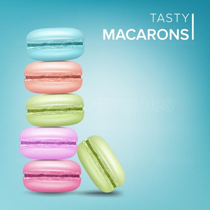 Colourful Macarons Vector  Tasty Sweet French Macaroons On Blue Background Illustration