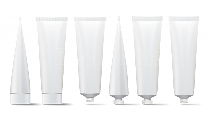 Cosmetic Tube Set  Vector Mock Up  Cosmetic, Cream, Tooth Paste, Glue White Plastic Tubes Open And Closed Set Packaging Realistic Illustration  Isolated