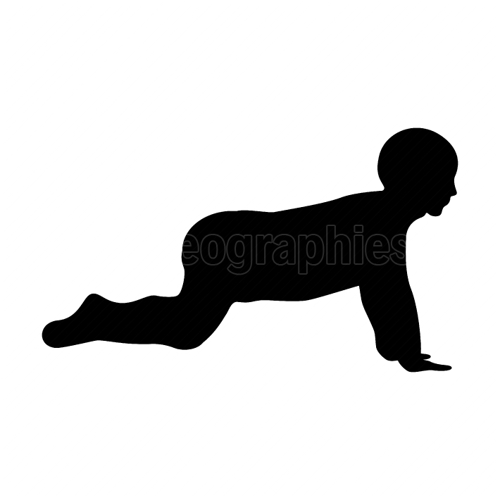 Crawling baby black color icon