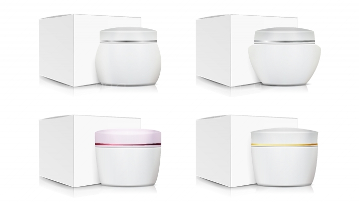 Cream Jar Packaging Template Set Vector  White Paper Or Cardboard Box  Organic Product Design  Blank Cosmetic Jars  Natural Cosmetics Packaging Illustration