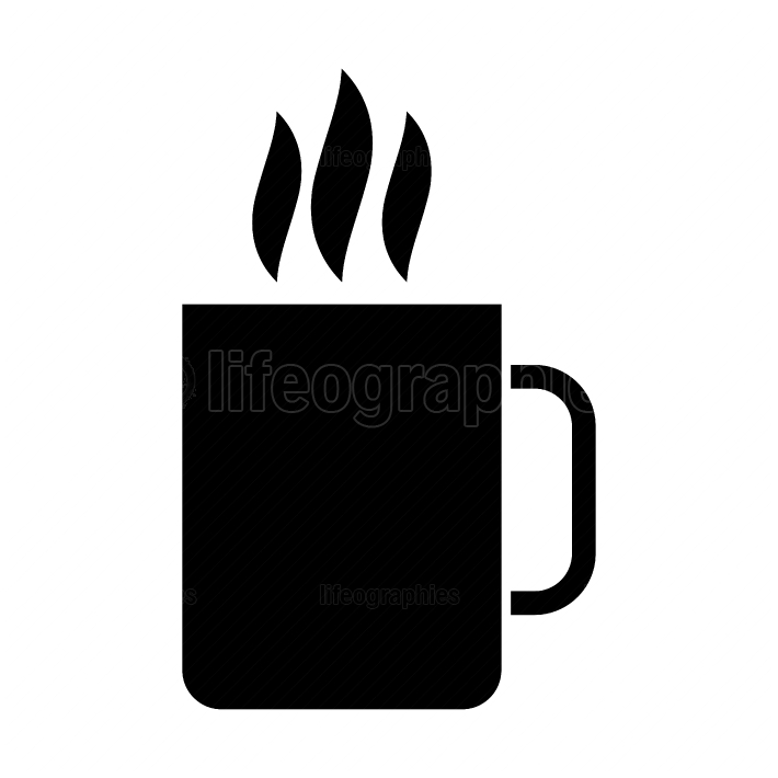 Cup with hot drink black color icon