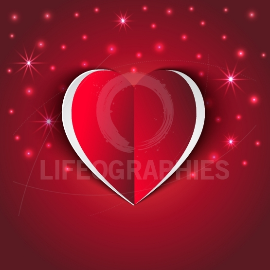 Cute red Heart paper sticker with shadow star lights effect