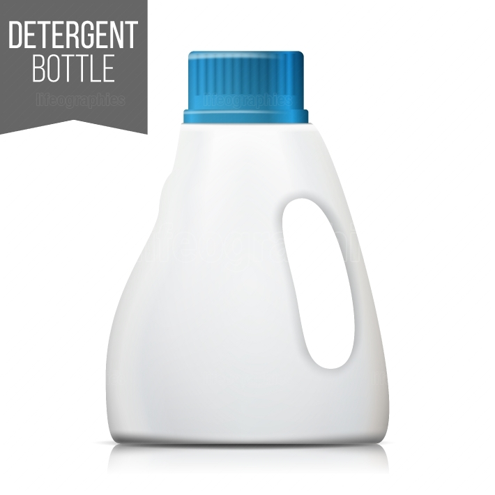 Detergent Bottle Vector  Plastic Detergent Container Isolated On White Background Illustration