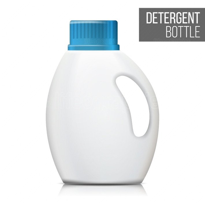 Detergent Bottle Vector  Realistic Mock Up  White Clean Plastic Bottle For Household Chemicals  Packaging Design Isolated Illustration