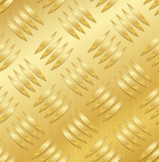 Diamond Metal Plate Seamless Vector Pattern  Corrugated Aluminum Sheet  Golden Metal Seamless Background  Vector Illustration