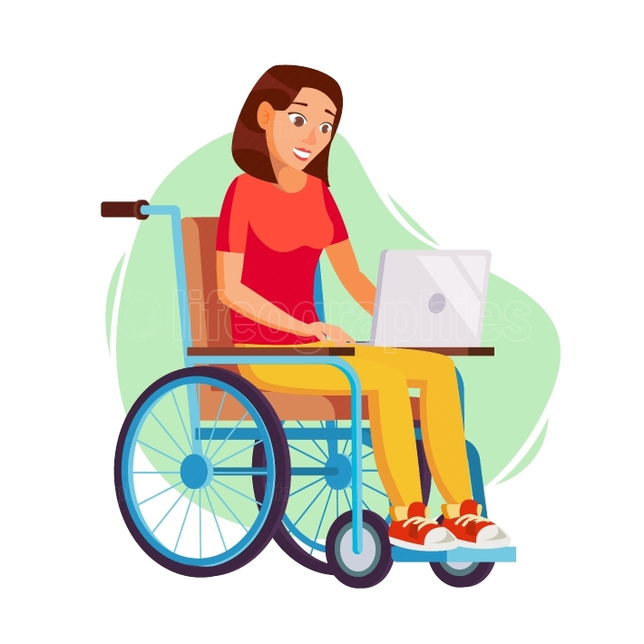Disabled Woman Person Working Vector  Woman Sitting In Wheelchair  Disabled And Recovering  Flat Cartoon Illustration