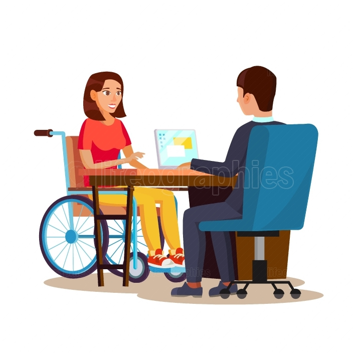 Disabled Woman Vector  Equal Opportunities Concept  leading Happy Life  Cartoon Character Illustration