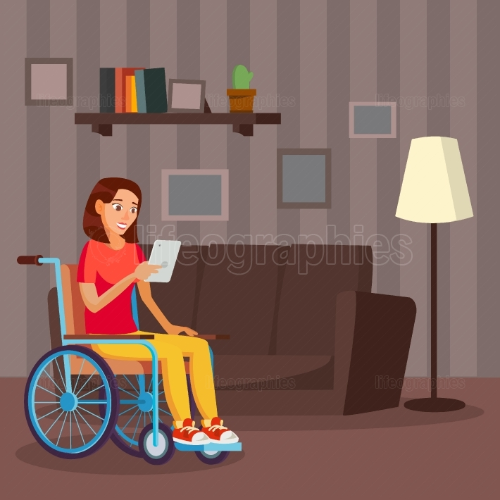 Disabled Woman Vector  Living With Disability  Smiling Disabled Female  Isolated On White Cartoon Character Illustration