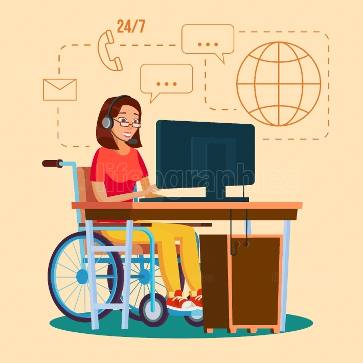 Disabled Woman Working Vector  Socialization Concept  Wheelchair With Person  Isolated Flat Cartoon Character Illustration