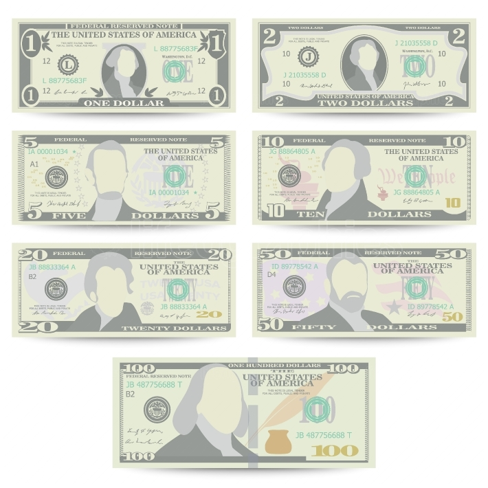 Dollars Banknote Set Vector  Cartoon