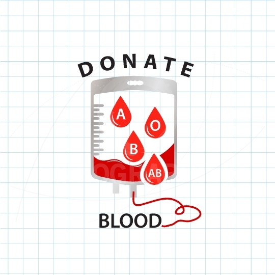 Donate blood  concept with bag blood and drop blood type