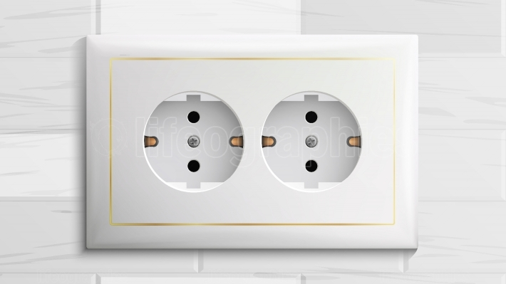Double Grounded Socket Vector  Switch  Brick Wall  Realistic Illustration
