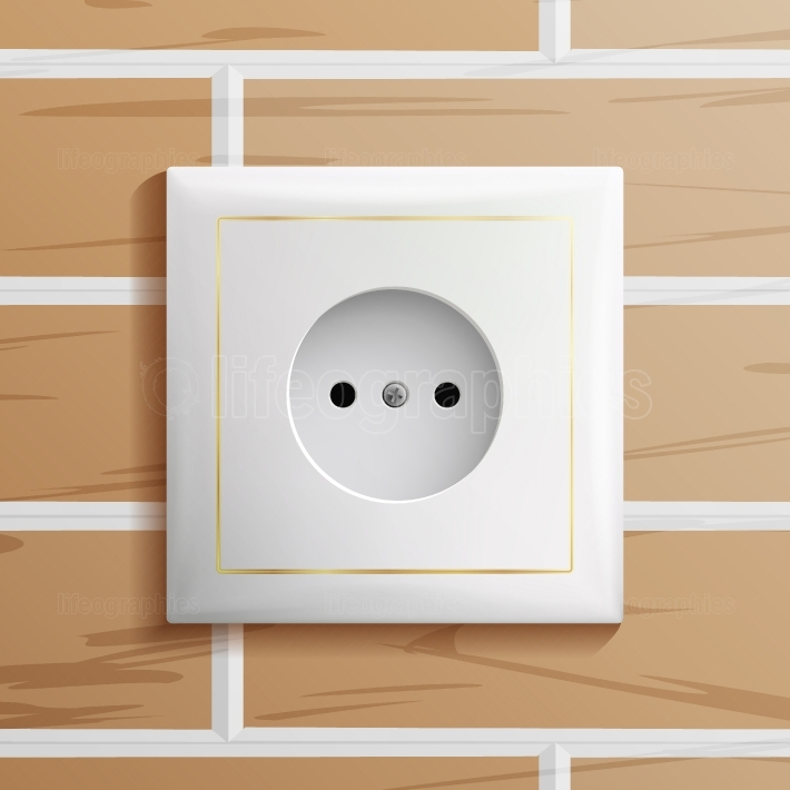 Electric Socket Vector  Modern European Plastic Electrical Outlet  Brick Wall  Realistic Illustration