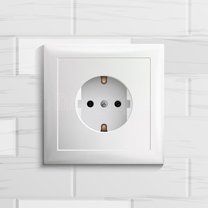 Electric Socket Vector  Plastic Standard Panel  Brick Wall  Realistic Illustration