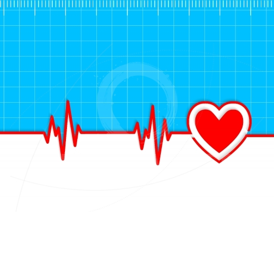 Electrocardiogram with heart silhouette and copy-space.Useful as
