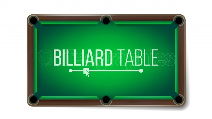 Empty Billiard Table Vector  Green Game Snooker Table  Top View  Isolated On White Background Illustration