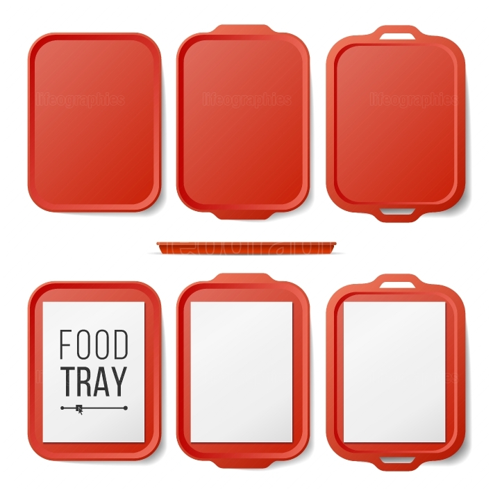 Empty Plastic Tray Salver Set Vector  Rectangular Red Plastic Tray Salver With Handles  Top View  Tray Isolated Illustration