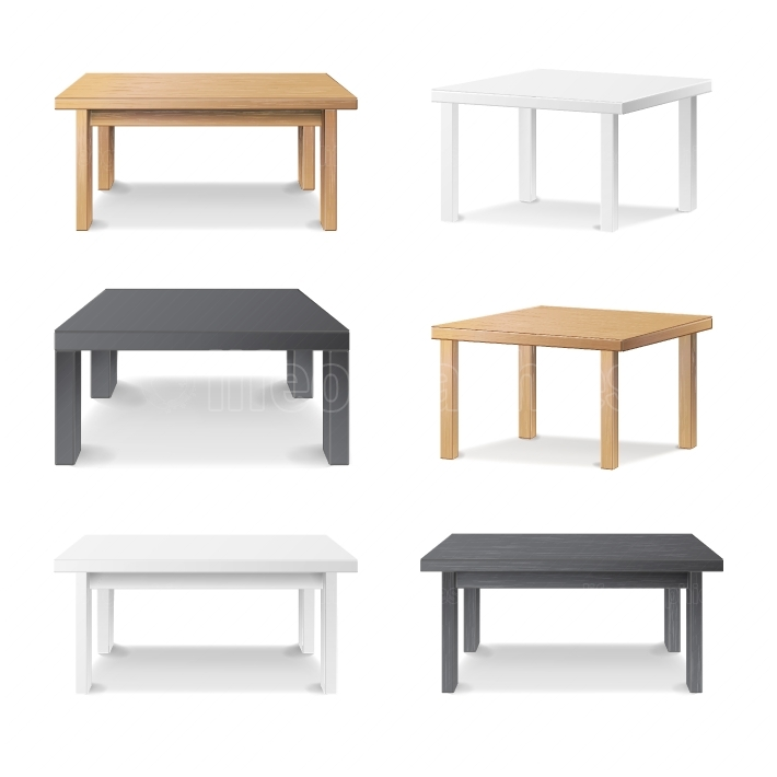 Empty Table Set Vector  Wooden, Plastic, White, Black  Isolated