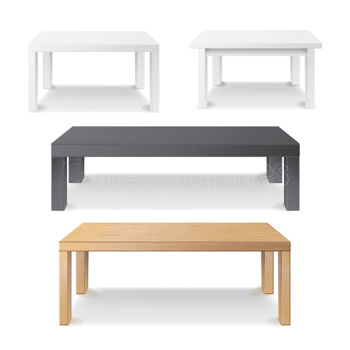 Empty Table Set Vector  Wooden, Plastic, White, Black  Isolated Furniture