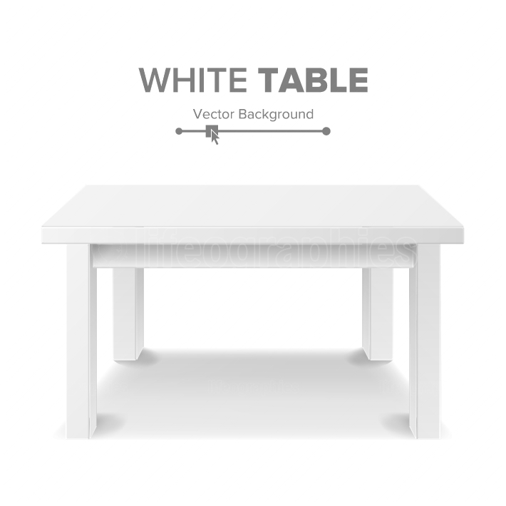 Empty White Plastic Table Isolated On White Background